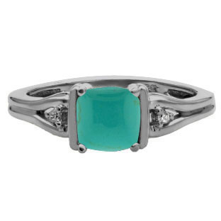 Simple Cushion Cut Turquoise Stone Diamond Black Gold Ring by Gemologica