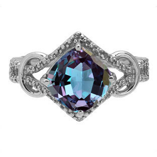 Cushion Cut Alexandrite Diamond Sterling Silver Ring By Gemologica