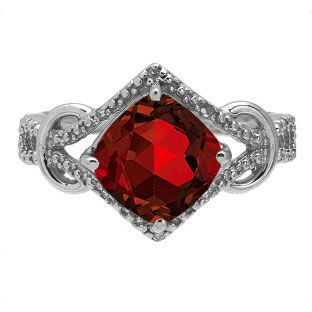 Cushion Cut Garnet Diamond White Gold Ring By Gemologica