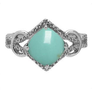 Cushion Cut Turquoise Diamond White Gold Ring By Gemologica