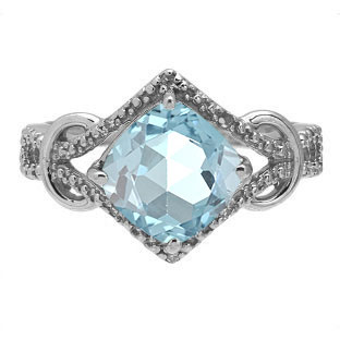 Cushion Cut Aquamarine Diamond Sterling Silver Ring By Gemologica