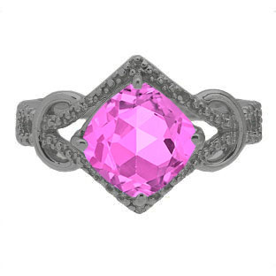Cushion Cut Pink Sapphire Diamond Black Gold Ring By Gemologica
