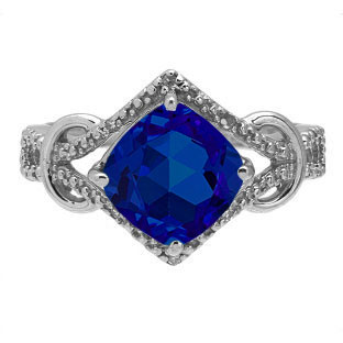 Cushion Cut Blue Sapphire Diamond Sterling Silver Ring By Gemologica