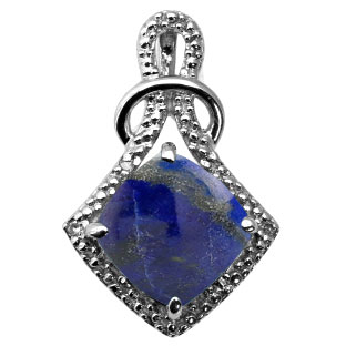 Cushion Cut Lapis Diamond White Gold Pendant By Gemologica