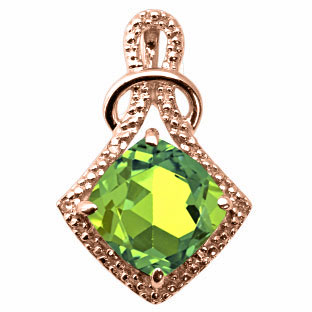 Cushion Cut Peridot Diamond Rose Gold Pendant By Gemologica