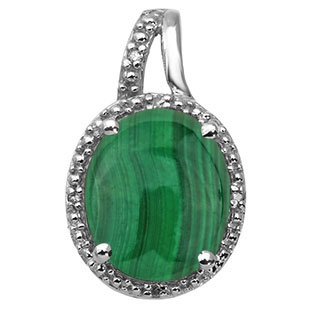 Large Oval Cut Malachite Stone Diamond Silver Pendant