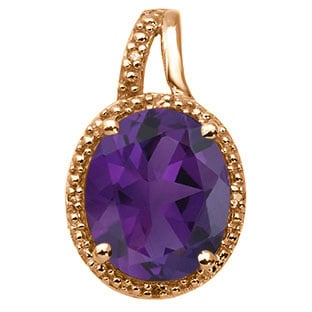 Large Oval Cut Amethyst Stone Diamond Rose Gold Pendant