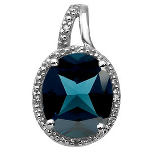 Large Oval Cut London Blue Topaz Stone Diamond White Gold Pendant