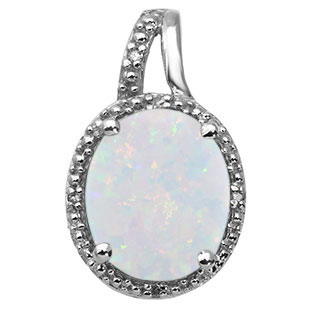 Large Oval Cut Opal Stone Diamond Silver Pendant