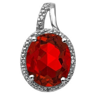Large Oval Cut Ruby Stone Diamond Silver Pendant