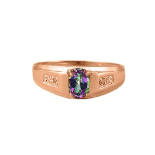 Men's Mystic Fire Topaz Diamond Ring, Mens Rose Gold Jewelry