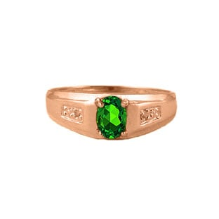Men's Emerald Diamond Ring, Mens Rose Gold Jewelry