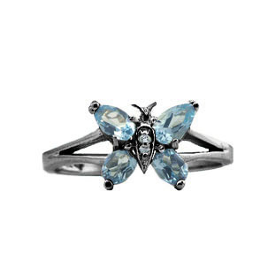 Blue Topaz Diamond Gemstone Butterfly Ring In Black Gold