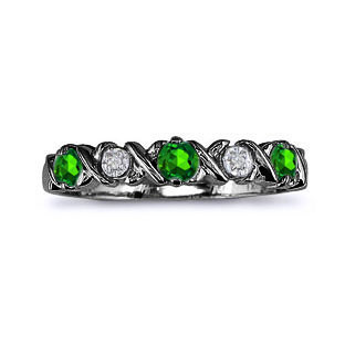 Emerald and Diamond Black Gold Band Ring