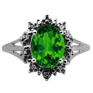 Diamond Oval Emerald Gemstone Black Gold Starburst Ring