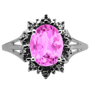 Diamond Oval Pink Sapphire Gemstone Black Gold Starburst Ring