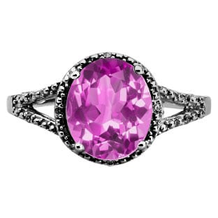 Simple Oval Cut Pink Sapphire Diamond Black Gold Ring For Women