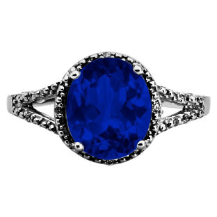 Simple Oval Cut Blue Sapphire Diamond Black Gold Ring For Women