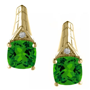 Diamond Cushion Cut Emerald May Birthstone Yellow Gold Earrings