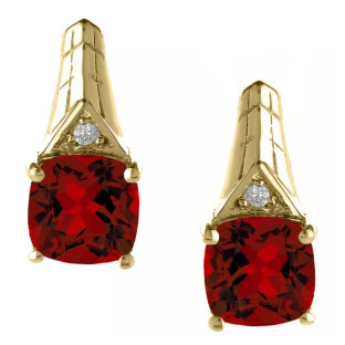 Diamond Cushion Cut Garnet January Birthstone Yellow Gold Earrings