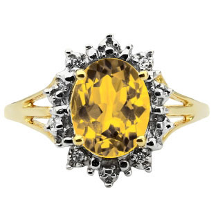 Diamond Oval Citrine Gemstone Yellow Gold Starburst Ring