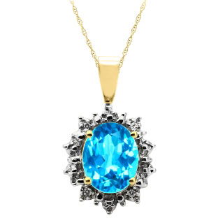 Diamond Oval Blue Topaz Gemstone Yellow Gold Starburst Pendant