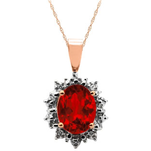 Diamond Oval Ruby Gemstone Rose Gold Starburst Pendant