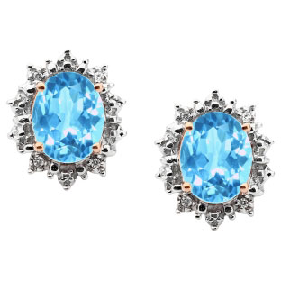 Diamond Oval Blue Topaz Gemstone Sterling Silver Starburst Earrings