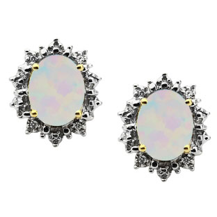 Diamond Oval Opal Gemstone Yellow Gold Starburst Earrings