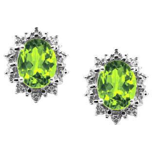 Diamond Oval Peridot Gemstone White Gold Starburst Earrings