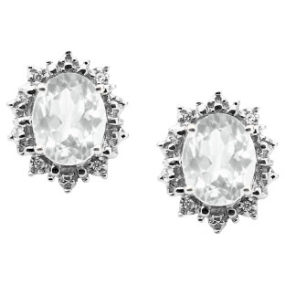 Diamond Oval White Topaz Gemstone Sterling Silver Starburst Earrings