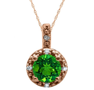 Round Cut Emerald Birthstone Diamond Rose Gold Pendant