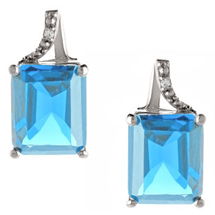 Emerald-Cut Blue Topaz Birthstone Diamond Sterling Silver Stud Earrings