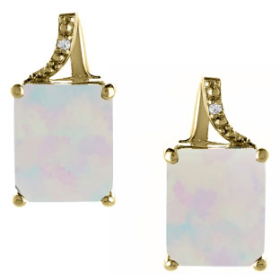 Emerald-Cut Opal Birthstone Diamond Yellow Gold Stud Earrings
