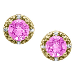 Round Cut Pink Sapphire Birthstone Diamond Yellow Gold Stud Earrings
