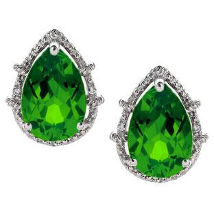 Diamond Pear Shaped Emerald Gemstone Sterling Silver Stud Earrings 230 00
