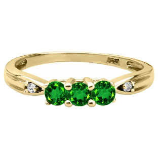 3 Stone Round Cut Emerald Gemstone Diamond Yellow Gold Ring