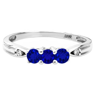 3 Stone Round Cut Blue Sapphire Gemstone Diamond White Gold Ring