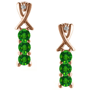 3 Stone Round Cut Emerald Gemstone Diamond Rose Gold Earrings
