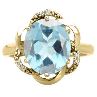 Bold Oval Cut Aquamarine Gemstone Diamond Yellow Gold Ring