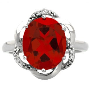 Bold Oval Cut Ruby Gemstone Diamond White Gold Ring