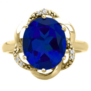 Bold Oval Cut Blue Sapphire Gemstone Diamond Yellow Gold Ring