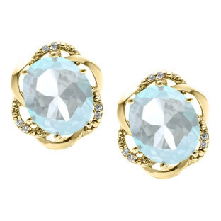 Bold Oval Cut Aquamarine Gemstone Diamond Yellow Gold Earrings