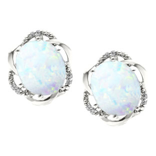 Bold Oval Cut Opal Gemstone Diamond Sterling Silver Earrings 180 00