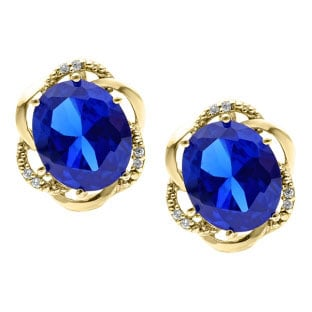 Bold Oval Cut Blue Shire Gemstone Diamond Yellow Gold Earrings