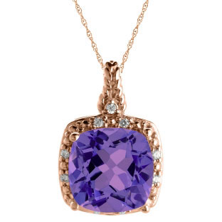 Cushion Cut Amethyst February Gemstone Rose Gold Diamond Braided Pendant