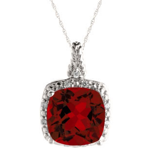 Cushion Cut Garnet January Gemstone White Gold Diamond Braided Pendant