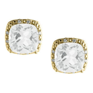 Cushion Cut White Topaz April Gemstone Yellow Gold Diamond Earrings