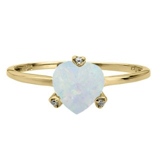 Simple Heart Shaped Opal Gemstone Diamond Yellow Gold Ring