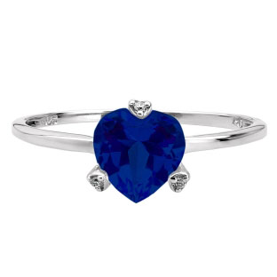 Simple Heart Shaped Blue Sapphire Gemstone Diamond Sterling Silver Ring